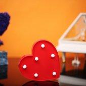 Kalp Tasarımlı Kırmızı Renkli Ledli Gece Lambası