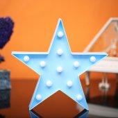 Yıldız Tasarımlı Mavi Renkli Ledli Gece Lambası