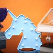 Unicorn Tasarımlı Mavi Renkli Ledli Gece Lambası