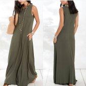 Kadın Sandy Haki Kolsuz Uzun Elbise