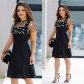Kadın Tüllü Siyah Dantel Elbise