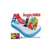 Intex Şişme Çocuk Havuzu Kaydırak + 75 Adet Oyun Topu + Pompa