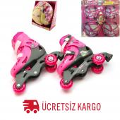 Barbie Ayarlanabilir Alıştırma Pateni 29 32 Numara Komple Set Dizlik Kask Paten Seti