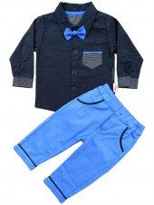 Pearly Baby Gömlekli Takım 3 6 9 12 Ay (Mavi)