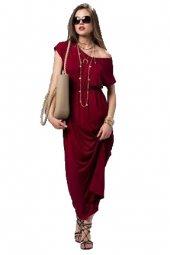 Kadın Beli Lastikli Bordo Elbise