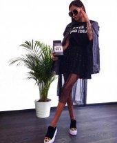 Kadın İncili Siyah Tasarım Tunik
