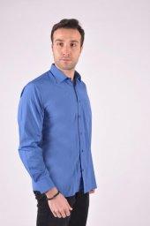 L5 Mavi Kare Cizgi Gömlek