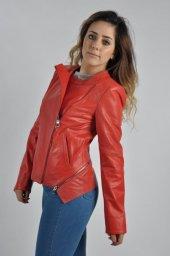 Bayan Kırmızı Model Deri Ceket A1