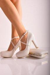 Bayan Abiye Topuklu Ayakkabı Takım 76 İnci Beyaz