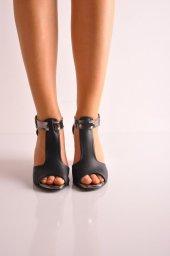 Bayan Günlük Topuklu Ayakkabı 64 Siyah Mat Platin
