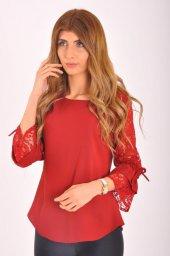 Bayan Kırmızı Güpür Bluz