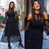 Japon Style Kadın Siyah Tüllü Elbise