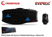 Everest Rampage Km R5 Siyah Usb 3 Farklı Ledli Gaming Q Multimedia Klavye + Mouse Set