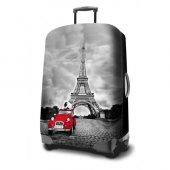 Paris Eiffel Kulesi Desenli Valiz Kılıfı Orta Boy