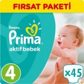 Prima Bebek Bezi No 4 Beden (8 14 Kg) 45 Adet Fırsat Paketi