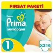 Prima Yenidoğan Bebek Bezi No 1 Beden (216 Adet) Fırsat Paketi