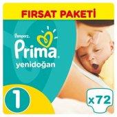 Prima Yenidoğan Bebek Bezi No 1 Beden (72 Adet) Fırsat Paketi