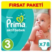 Prima Bebek Bezi No 3 Beden (5 9 Kg) 78 Adet Fırsat Paketi