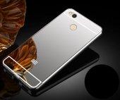 Xiaomi Redmi 4 Kılıf Aynalı Kenarları Metal Kapak Gümüş + Kırılmaz Cam Ekran Koruyucu