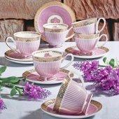 Kahve Fincan Takımı (Pembe) Çiçekli İthal Kolye Hediyeli