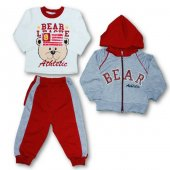 Bear Kapüşonlu 3lü Erkek Çocuk Eşofman Takım Bordo
