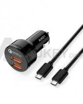 Aukey Cc T6 2 Port Araç H.şarj Qc 2.0 Ve 1 Ad 1mt Micro Usb Kablo