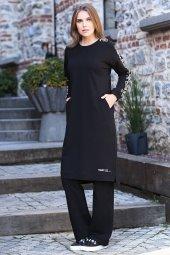 Cepli Kolları Desenli Siyah Tunik Takım