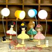 Sevimli Kızlar Tasarımlı Mini Masa Lambası Sevgiliye Hediye