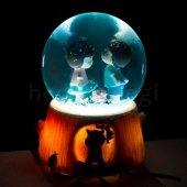 Sevgiliye Hediye Sevimli Çocuklar Işıklı Kar Küresi Müzik Kutusu
