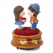 Güller Üzerinde Buluşan Romantik Çift Temalı 360 Derece Dönen Müz
