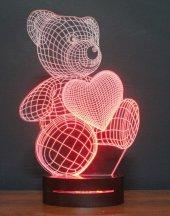3d Kalpli Ayıcık 16 Renk Ledli + Kumandalı Masa Ve Gece Lamba