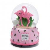 Sevgiliye Hediye Pembe Flamingolar Kar Küresi Ve Müzik Kutusu