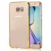 Microsonic Samsung Galaxy S6 Edge+ Plus Kılıf Metalik Transparent Gold