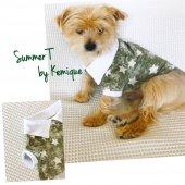 Green Star Polo Yaka Tişört Summer Köpek Kıyafeti Köpek Elbisesi