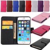 Apple İphone 5s Kılıf Kart Bölmeli Stantlı Cüzdan
