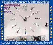 3d Büyük Duvar Saati Gümüş Farklı Tasarım Zengin Görünüm Ofis Ev