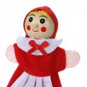 Kırmızı Başlıklı Kız Avcı Kurt Parmak Kukla Peluş Ahşap Çocuk Beb