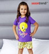 Rolypoly Tweety 9049 Pamuklu Pijama Takımı Mor