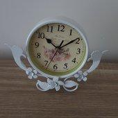 Ferforje Beyaz Çiçek Desenli Masa Saati 02