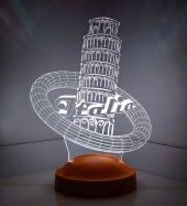 3 Boyutlu Pisa Kulesi 3 Boyutlu Led Lamba