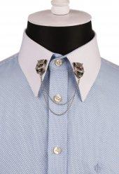 Kaplan Figürlü Taşlı Zincirli Gömlek Yaka İğnesi Gı132
