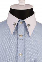 Mavi Taşlı Zincirli Gümüş Renk Gömlek Yaka İğnesi Gı134