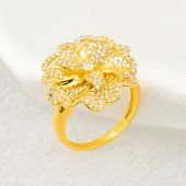 çiçekli Taşlı Sarı Altın Yüzük