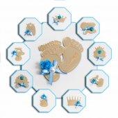 Pleksi Altın Mavi Bebek Şekeri Magneti Süslenmiş İsme Özel 25 Li
