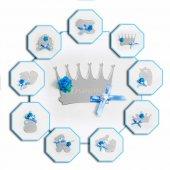 Pleksi Gümüş Mavi Bebek Şekeri Magneti Süslenmiş İsme Özel 25 Li