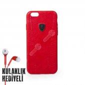 Puloka Apple İphone 6 Plus 6s Plus Exquisite Series Deri Kılıf Kırmızı