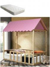 Montessori Yatak + Ortopedik Yatak , 1.sınıf Çam , Pembe Çatılı