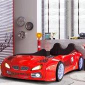 Arabalı Yatak , Kırmızı Bmw Model Full Ledli , Full İçi Kaplama