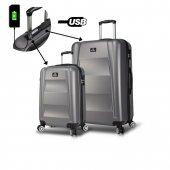 My Valice Smart Bag Exclusive Usb Şarj Girişli 2li Valiz Seti (Kabin Ve Büyük) Antrasit