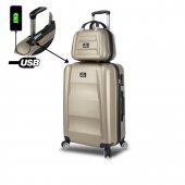 My Valice Smart Bag Exclusive Usb Şarj Girişli 2li Valiz Seti (Orta Ve Makyaj) Gold